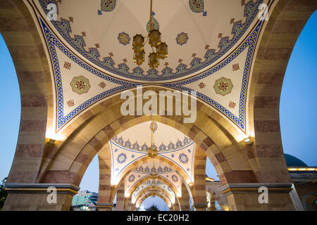 Ceiling in the Akhmad Kadyrov Mosque at dusk, Grozny, Chechnya, Caucasus, Russia - Stock Photo