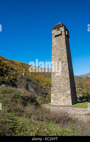 Chechen watchtower in the chechen mountains near Itum Kale, Chechnya, Caucasus, Russia - Stock Photo