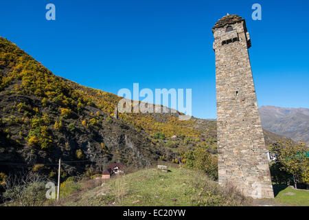 Chechen watchtower in the chechen mountains, near Itum Kale, Chechnya, Caucasus, Russia - Stock Photo