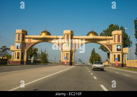 Town entrance of Argun, Chechnya, Caucasus, Russia - Stock Photo