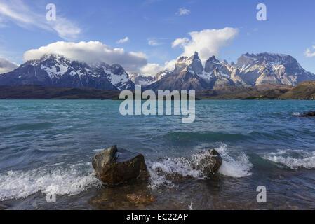 Lago Pehoe Lake and Paine Grande Massif, Torres del Paine National Park, Magallanes y la Antártica Chilena Region, - Stock Photo