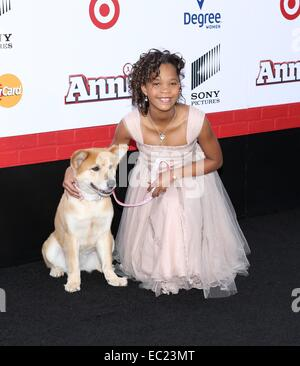 New York, NY, USA. 7th Dec, 2014. Quvenzhané Wallis at arrivals for ANNIE Premiere, The Ziegfeld Theatre, New York, - Stock Photo