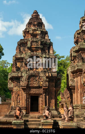 Tower in Temple of Banteay Srei, near Siem Reap, Cambodia - Stock Photo