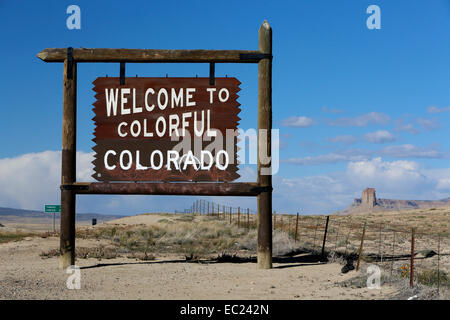 Welcome to Colorado, sign at Highway 491, Colorado, New Mexico, United States - Stock Photo