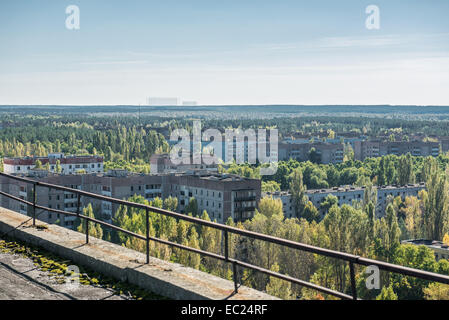 view from 16-storied block of flats roof on Heroes of Stalingrad St in Pripyat abandoned city, Chernobyl Exclusion - Stock Photo