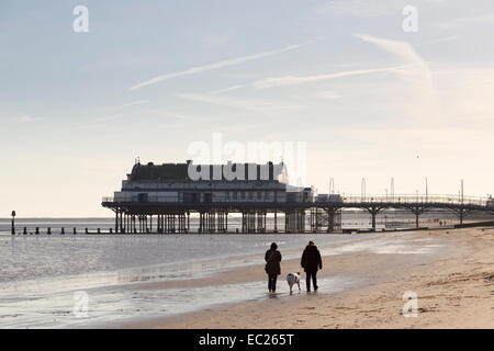 Two people walking a dog on the beach at Cleethorpes, Lincolnshire, England, UK - Stock Photo