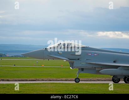 RAF 1 Squadron Eurofighter Typhoon FRG4 Fast Jet on runway taxi way.   SCO 9296. - Stock Photo