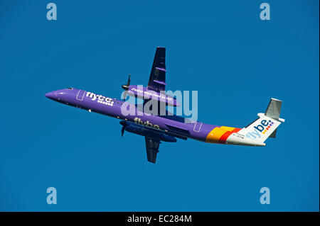 Flybe British European DCH Bombardier -8-402-Q400 Short haul commuter airline.  SCO 9269. - Stock Photo