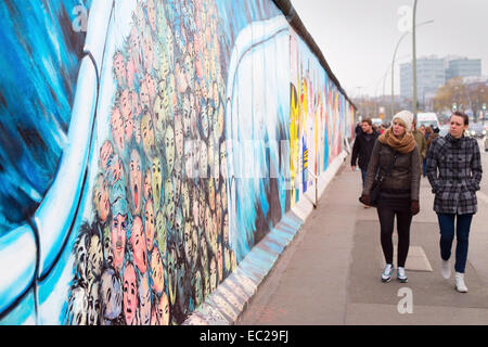 People walking at Berlin Wall at East Side Gallery . It's a 1.3 km long part of original Wall - Stock Photo