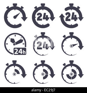 Set of icons of  clocks on white background - Stock Photo