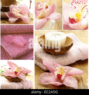 collage of spa concept - pink towel, candles and orchid flowers - Stock Photo