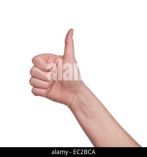 Caucasian white female hand making Thumb up sign isolated on white background. Like, approval or endorsement concept. - Stock Photo