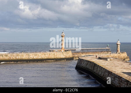 Entrance to Whitby harbour, North Yorkshire, UK. - Stock Photo