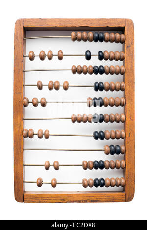 vintage wooden abacus on isolated on white - Stock Photo