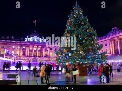The beautiful Somerset House in London during Christmastime. - Stock Photo