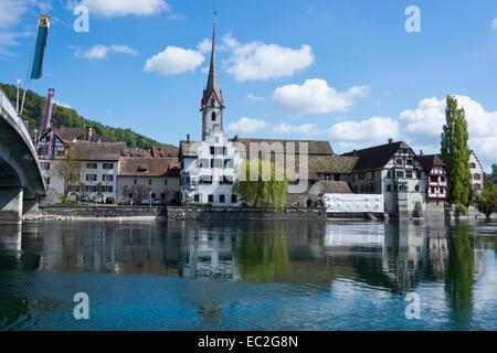 Stein am Rhein, High Rhine, Canton of Schaffhausen, Switzerland, Europe - Stock Photo