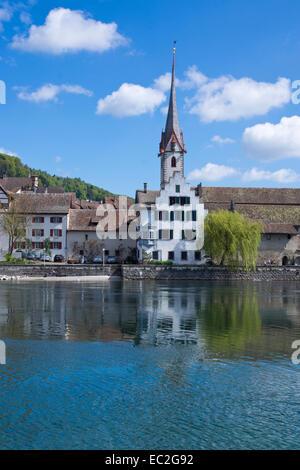 Stein am Rhein with the monastery of St. Georgen, High Rhine, Canton of Schaffhausen, Switzerland, Europe - Stock Photo