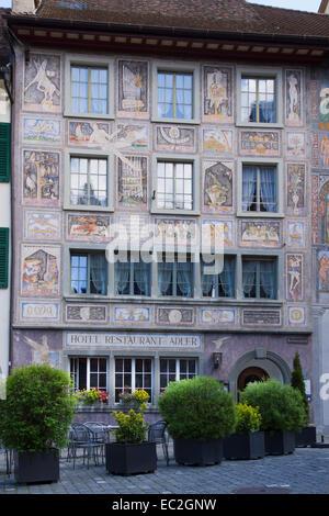 House with facade paintings, Hotel Restaurant Adler, Stein am Rhein, High Rhine, Canton of Schaffhausen, Switzerland, - Stock Photo