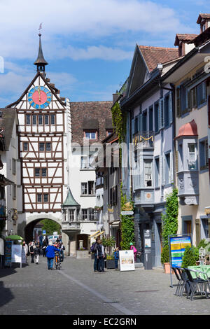 Untertor gate, Stein am Rhein, High Rhine, Canton of Schaffhausen, Switzerland, Europe - Stock Photo