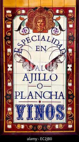 Plancha Vinos Tapas Bar Valencia Old City Town Spain Spanish tiles - Stock Photo