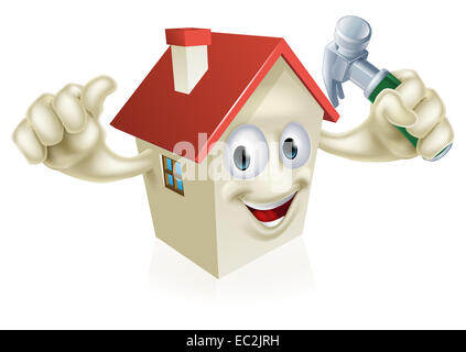 An illustration of a cartoon house character holding a hammer. Concept for home improvement, DIY or similar - Stock Photo