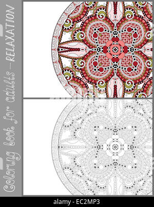 unique coloring book page for adults - flower paisley pattern, joy to older children and adult colorists, who like - Stock Photo