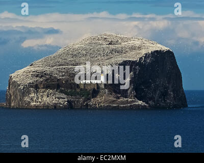 Bass Rock off the coast of Scotland beside North Berwick. - Stock Photo