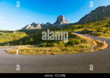 Bend at Passo Giau early morning, Dolomites, Alps, Italy - Stock Photo