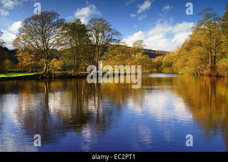 UK,Derbyshire,Peak District,Bamford,River Derwent Reflections - Stock Photo