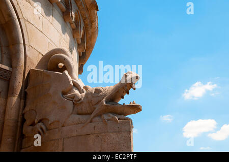 The many statues of Hungarian Heroes on the Fishermens Bastion on Buda Hill in Budapest Hungary - Stock Photo