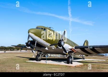A Douglas C-47D Skytrain or Dakota, USS Alabama Battleship Memorial Park, Mobile, Alabama, USA - Stock Photo