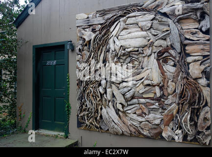 Benjamin Franklin wood sculpture in Long Island - Stock Photo