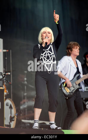 Blondie performing on the Other Stage at Glastonbury 2014 - Stock Photo