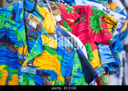 Hawaiian style surfer shirts for sale,Pismo Beach, Central Coast, California, United States of America - Stock Photo
