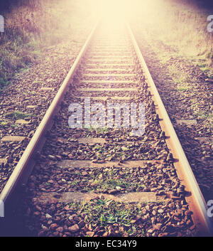 Vintage filtered picture of railway tracks. - Stock Photo
