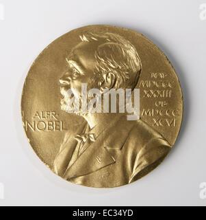 Nobel prize,Nobel,Prize,Medal,Alfred,Gold,Science,Front. - Stock Photo