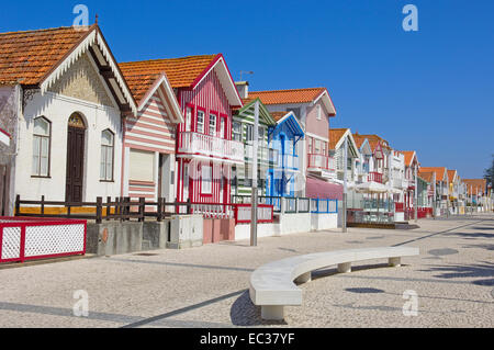 Palheiros, colourful houses, Costa Nova, Aveiro, Beiras region, Portugal, Europe - Stock Photo