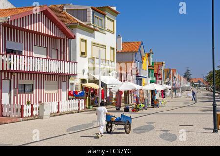 Palheiros, colourful houses, Costa Nova, Aveiro, Beiras region, Portugal, Europe - Stock Photo