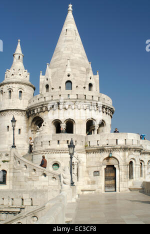 Fisherman's Bastion on the Castle Hill in Budapest - Stock Photo