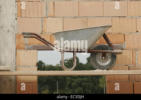 Wheelbarrow on Construction Site - Stock Photo