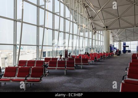 Passenger waiting area in Hong Kong International Airport, Chek Lap Kok, Hong Kong, China - Stock Photo
