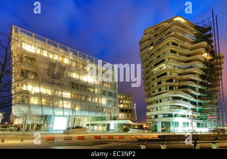 Unilever Building and Marco Polo Tower in Hamburg Hafencity, Germany - Stock Photo