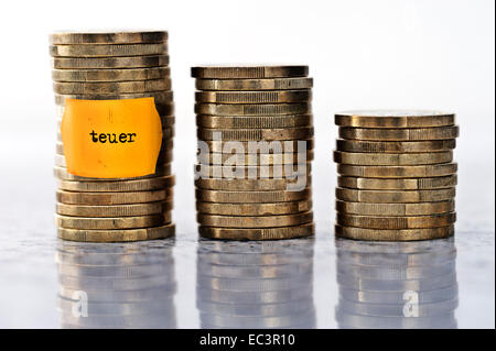 Stacked coins with label, rise in food prices - Stock Photo