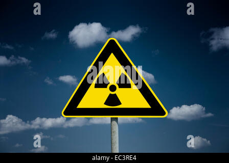 Radiation warning sign, radioactive cloud - Stock Photo