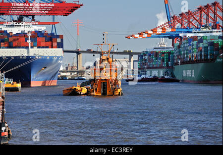 Bucket dredger Odin, deepening of river Elbe in Hamburg Harbour, Germany, Europe - Stock Photo