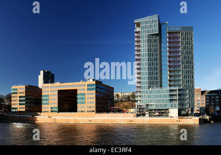 Office buildings Holzhafen West and residence tower Kristall in Hamburg, Germany, Europe - Stock Photo