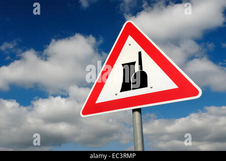 Traffic sign nuclear power plant - Stock Photo
