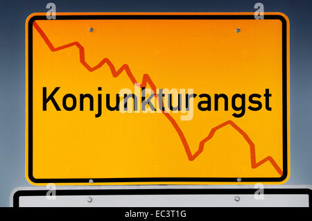 Place name sign, German lettering economic fears - Stock Photo
