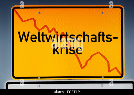 Place name sign, German lettering global economic crisis - Stock Photo