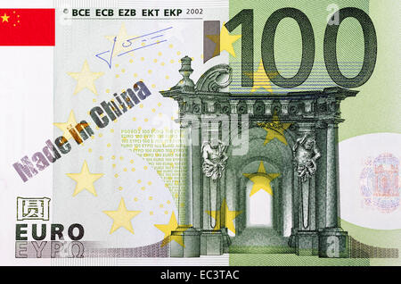 One hundred euro banknote, imprint made in China - Stock Photo